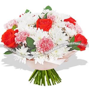 Жду встречи - букет из роз,гвоздик и хризантем...<br>