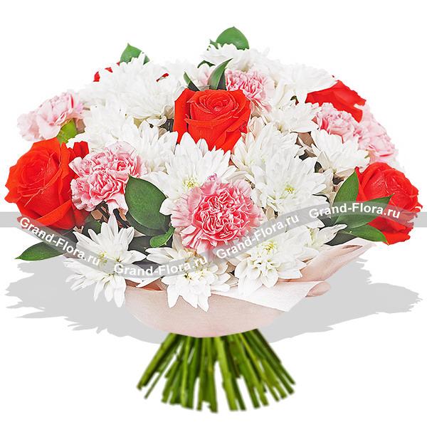 Жду встречи - букет из роз,гвоздик и хризантем