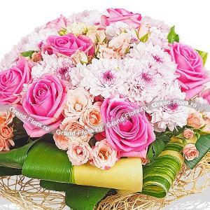 Скучаю по тебе - букет из роз и хризантем...<br>