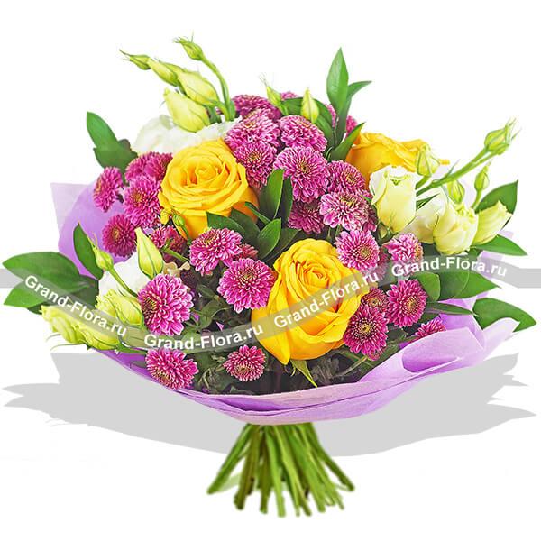 До встречи в сети - букет из желтых роз и фиолетовых хризантем