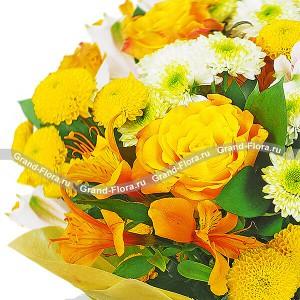 Композиция из жёлтых роз - Радость общения...<br>