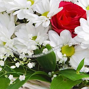 Апрельское утро - корзина из кустовой хризантемы и роз...<br>