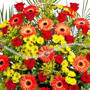 Императрица- корзина из роз,гербер и хризантем