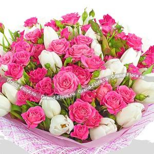 Весенний мотив - букет из тюльпанов от Grand-Flora.ru