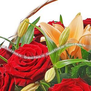 Мой каприз - корзина из роз и лилий...<br>