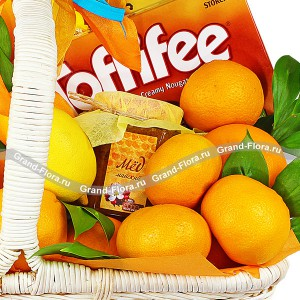 Цитрусовый эликсир - корзина подарочная с фруктами и конфетами