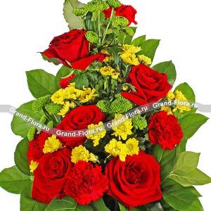 Вертикальный букет из красных роз - Надёжный берег