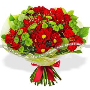 Роял флеш - букет из кустовой розы и хризантемы...<br>