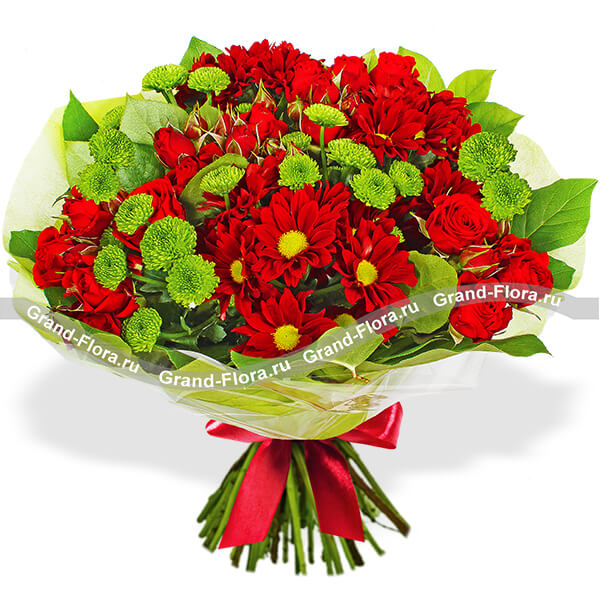 Букет с 11 красными герберами и 10 розами