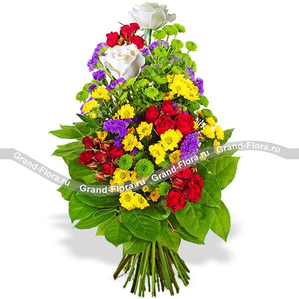 Новинки Гранд Флора Настоящему другу - букет из роз,хризантем и статицы фото