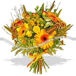 Солнечный - букет из гербер,роз кустовых  и хризантем...<br>