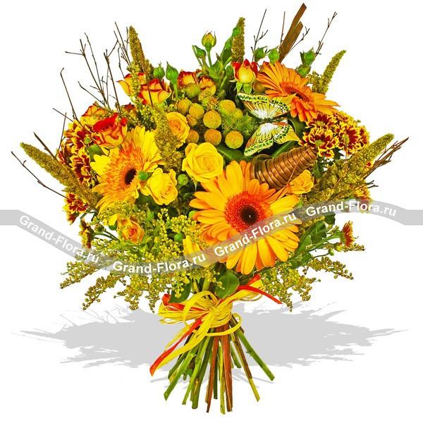 Изысканный букет из гербер, роз и хризантем.