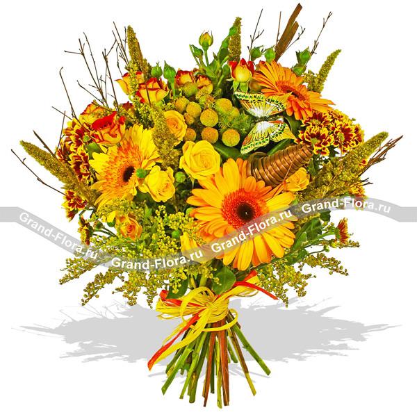 Солнечный - букет из гербер,роз кустовых  и хризантем