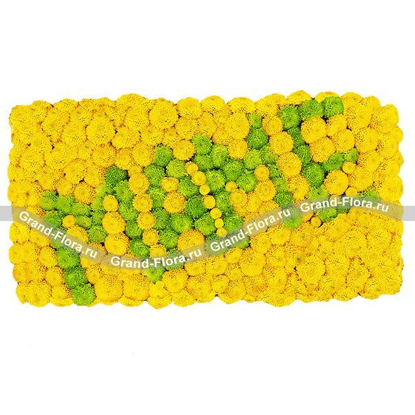 Солнечная композиция из желтых и зеленых хризантем