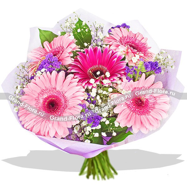 Воздушный букет из гербер розовых оттенков
