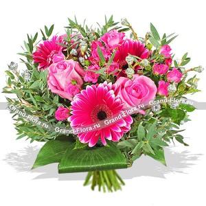 Малиновые зори - букет из роз и гербер...<br>