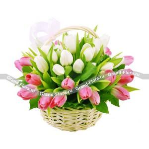 Романтичная сказка - корзина из белых и розовых тюльпанов