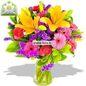 Волшебный вальсОчарование первого бала, весеннего праздника, буйство цвета и запахов – грациозно воплотилось в композицию Волшебный Вальс. Смелое сочетание розовых оттенков, яркого желтого, глубокого фиолетового и сочного зеленого – напоминает разноцветные шелковы...<br>
