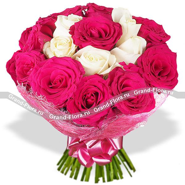 Розовые розы с белыми - Неземные чувства