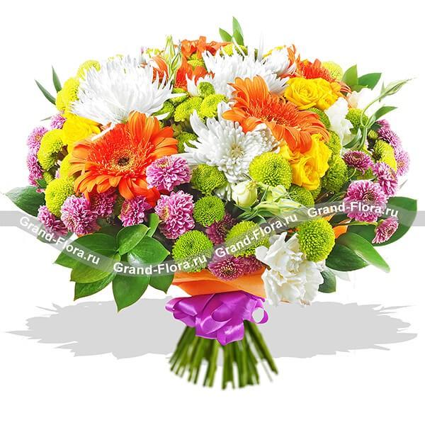 Великий Гэтсби - букет из гербер,хризантем и эустомы