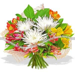 Идеальный роман - букет из хризантемы и альстромерии...<br>