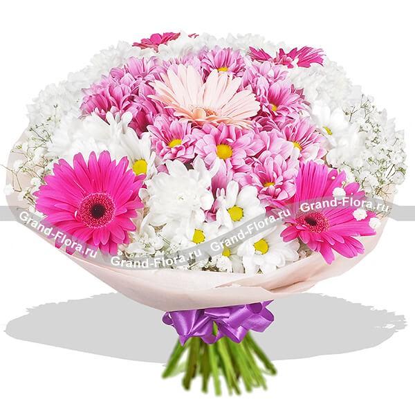 Воздушный букет бело-розовых оттенков из гербер и хризантем