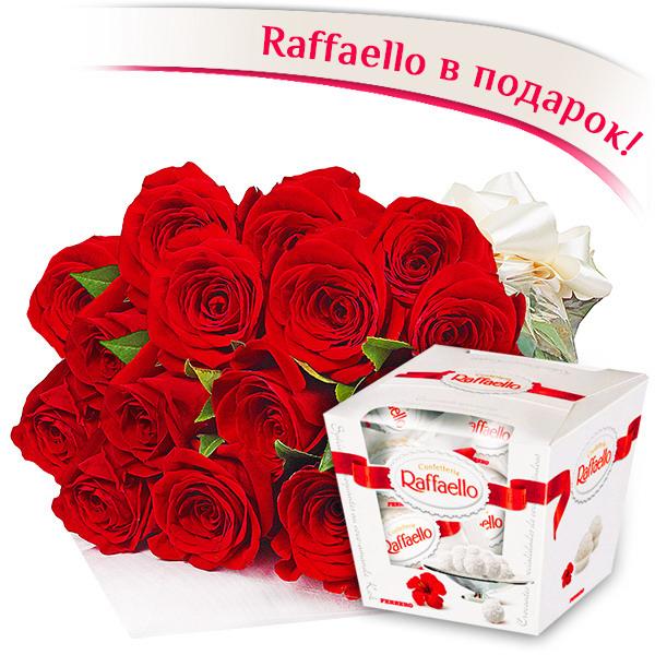 11 красных роз + Raffaello