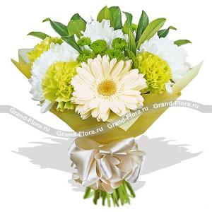 Прикосновение нежности - букет из гербер и хризантемы