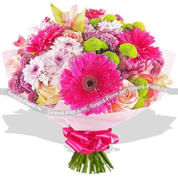 Букет из малиновых гербер, зеленых и белых хризантем и нежных кремовых роз