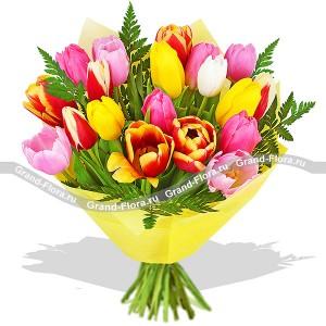 Хорошее настроение - букет из разноцветных тюльпанов разноцветное настроение букет разноцветных тюльпанов