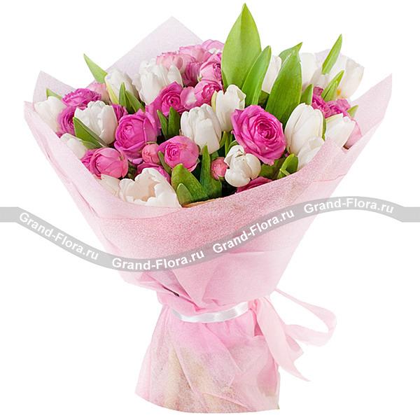 Мелодия души - букет из тюльпанов и кустовой розы