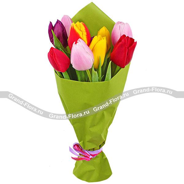 Наилучшие пожелания - букет из разноцветных тюльпанов