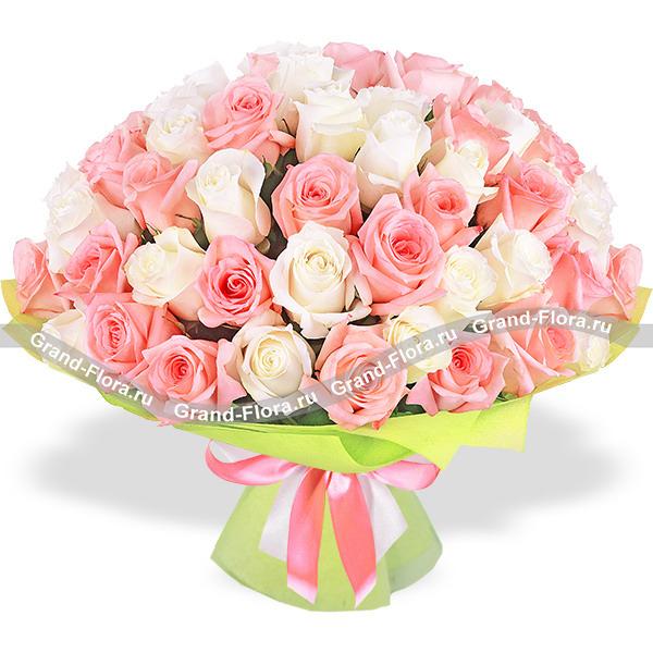 Амур - букет из кремовых и розовых роз