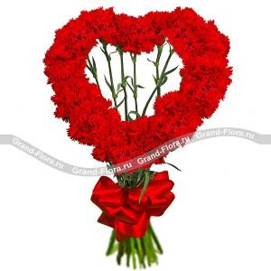 Мое сердце - Тебе - букет из гвоздик...<br>