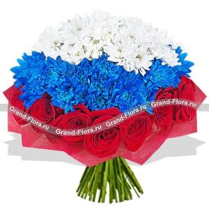 Россия - букет из роз и хризантем