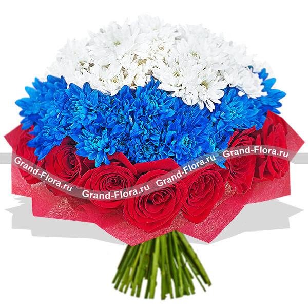 Букеты из цветов флагами