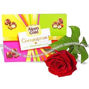 Сладкий сюрприз - подарочный набор из розы коробки шоколадных конфет...<br>
