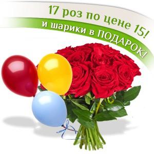 17 красных роз + шары