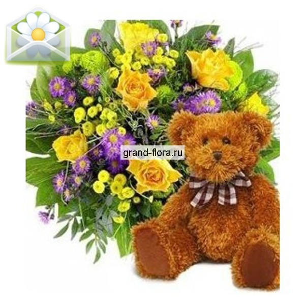 Цветы Гранд Флора GF-s002 букет из кустовой розы огненный