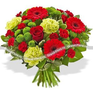 Букет из красных роз и гербер - Загадки осени...<br>