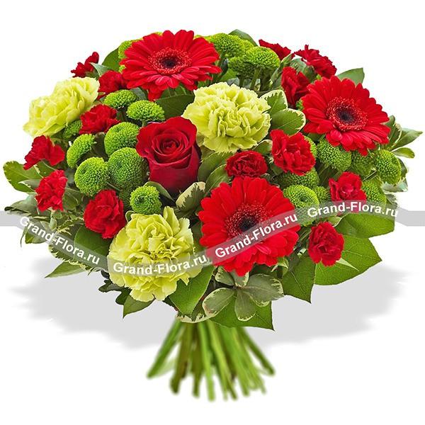 Букет из гербер, гвоздик и хризантем