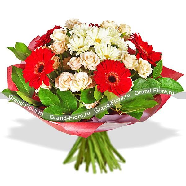 Букет из хризантем и красных гербер