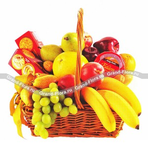 Фруктовая корзина Приятный сюрпризХотите приятно удивить и порадовать своих друзей или родственников, закажите им в подарок корзину из фруктов с доставкой. А для того, чтобы сюрприз был более питательным и сладким, в корзину из фруктов добавили несколько пачек вкуснейшего, свежего и...<br>