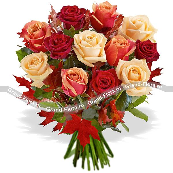 Чарующая осень - микс из оранжевых роз