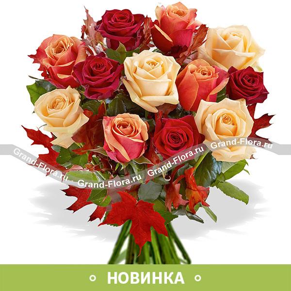 Микс из 11 оранжевых роз - Чарующая осень