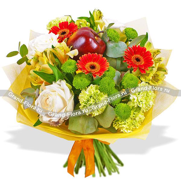 Румяный сувенир - букет из роз,альстромерии и гвоздик