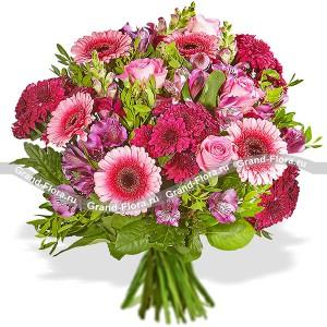 Букет роз и гербер - Оттенки марсала