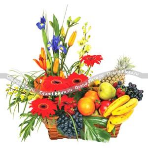 Оазис изобилияОригинальным, красивым, а главное полезным подарком для любимого человека ко Дню рождения или другому празднику может стать корзина из цветов и фруктов. Букет из гербер, лилий и орхидей в сочетании с сочными экзотическими фруктами, заказанный чер...<br>