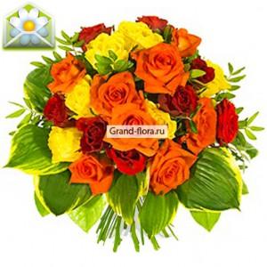 Гармония страстиВоплощением чувственности и красоты стала композиция Гармония страсти. Цветовая палитра букета самым невероятным образом вобрала в себя оттенки оранжевого, желтого, красного и бордового цветов, создав ощущение полной гармонии. Выгодно декорированный...<br>