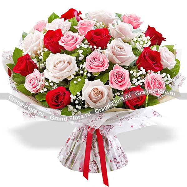 Особенные чувства - букет из разноцветных роз с гипсофилой